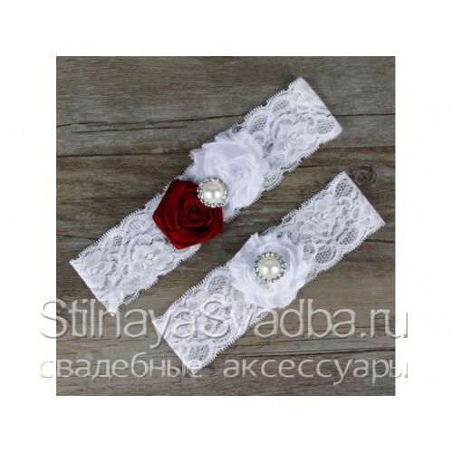 Подвязка вишнёвый-белый, эластичная фото