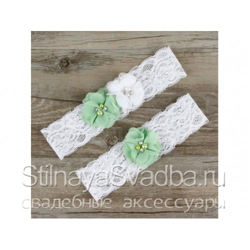 Подвязка салатовый-белый,эластичная фото