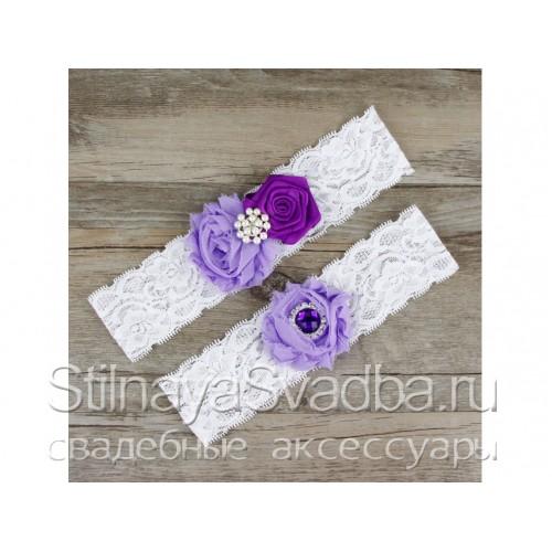 Подвязка сиреневый-фиолетовый, эластичная фото