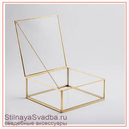 Стеклянная шкатулка квадратной формы плоская фото