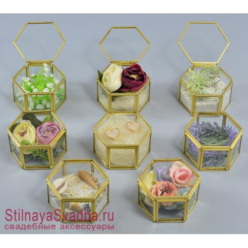Стеклянные  шкатулки  золотые  в ассортименте фото