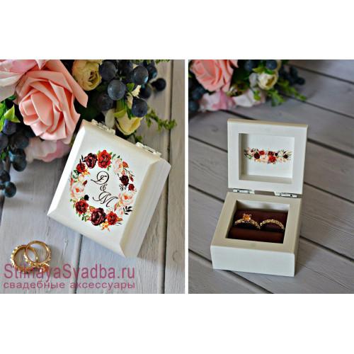 Свадебная шкатулка для колец Марсала с пионами фото