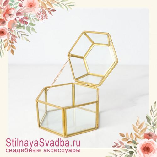 Стеклянная шкатулка для колец с крышкой в форме купола фото