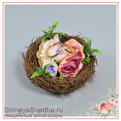 Гнёздышко для колец миниатюрное  с сиреневыми цветочками фото