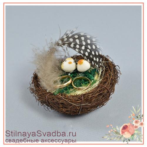 Гнёздышко для колец миниатюрное с птичками и мхом фото