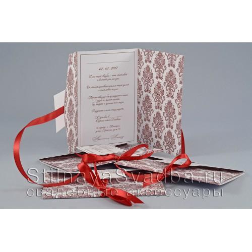 Свадебные аксессуары  цвета марсала с узором шеврон. Фото 000.