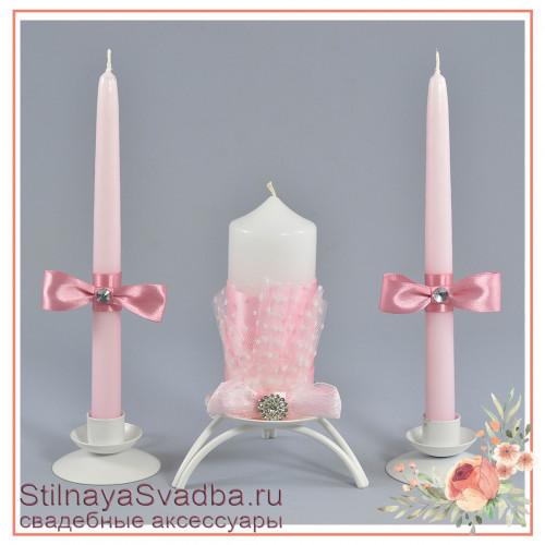 Свадебные свечи с розовым бантом фото
