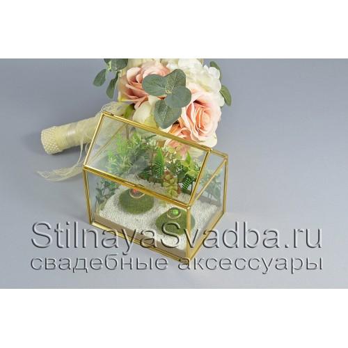Геометрический флорариум в форме домика с открывающейся крышей фото