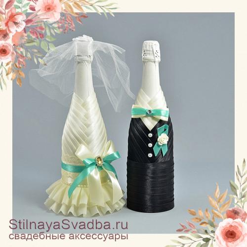 Свадебное шампанское с мятным  цветовым акцентом фото