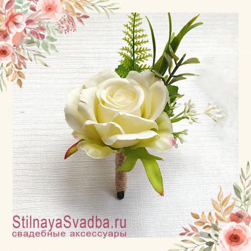 Бутоньерка с крупной розой  для друзей жениха  айвори фото