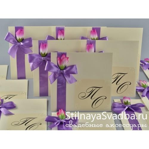 """Приглашение в конверте """"Крокусы"""" . Фото 000."""