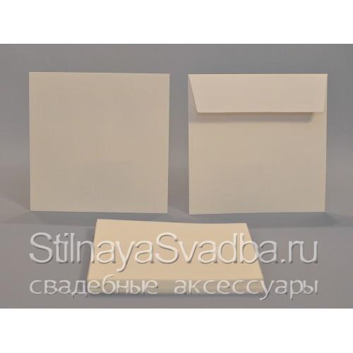 Конверты для приглашений квадратные, молочно-белый фото