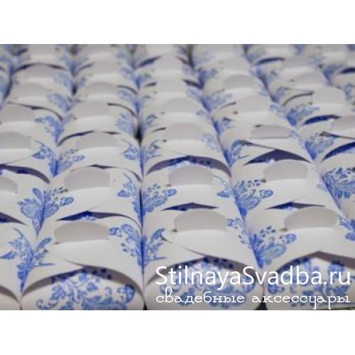 Бонбоньерка Сундучок с рисунком голубая фото