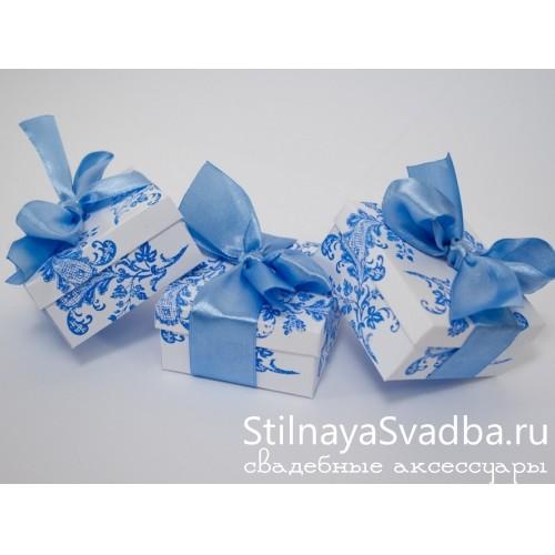 Бонбоньерка с рисунком, голубая фото