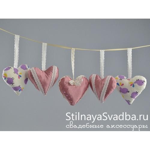 Романтичные текстильные сердечки фото