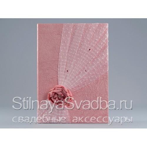 Фото. Папка для свидетельства с розовым цветком