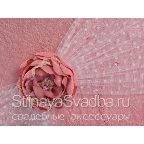 Папка для свидетельства с розовым цветком. Фото 000.