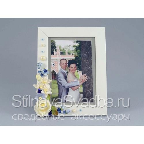 Рамка для фотографии в в сине-голубых тонах фото