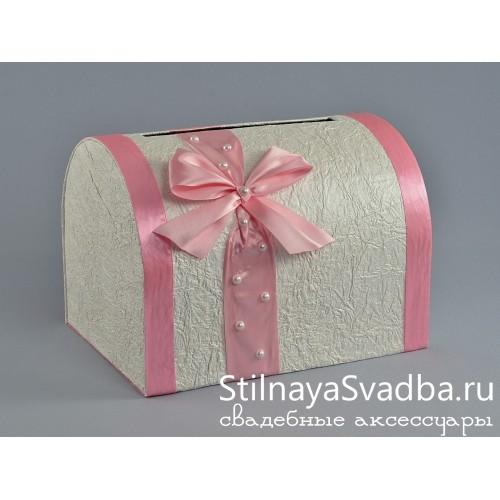 Фото. Сундучок с розовой лентой и жемчугом
