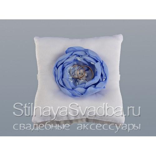 Фото. Подушечка для колец в небесно-голубом цвете
