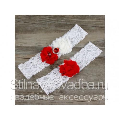 Подвязка красный-белый, эластичная фото