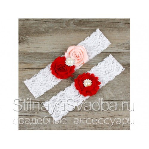 Подвязка красный-розовый, эластичная фото