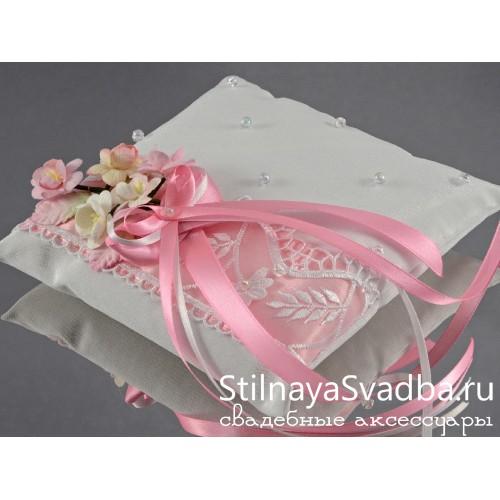 Розовая подушечка для колец   фото
