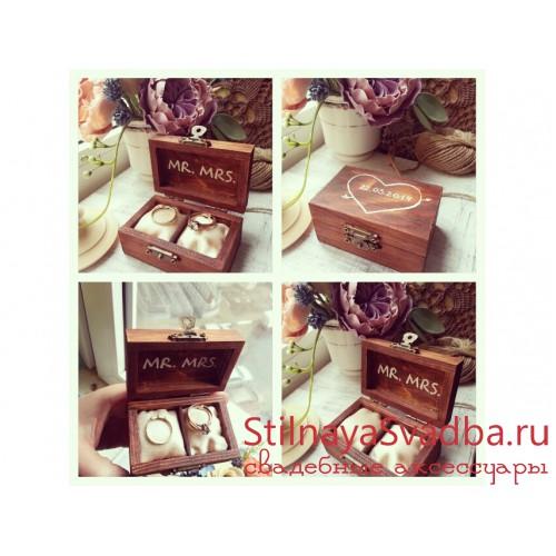 Шкатулки для колец деревянные фото