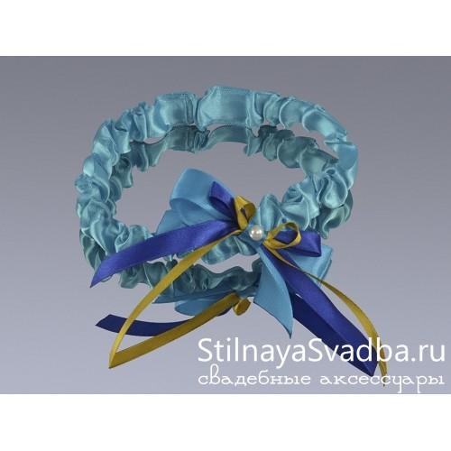 Узкая подвязка Сказочный павлин фото
