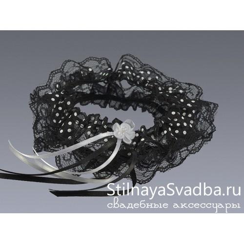 Подвязка в горошек, чёрная фото