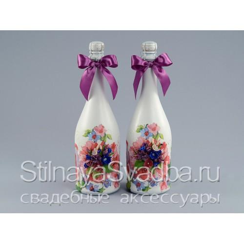Декупаж свадебных бутылок шампанского фото