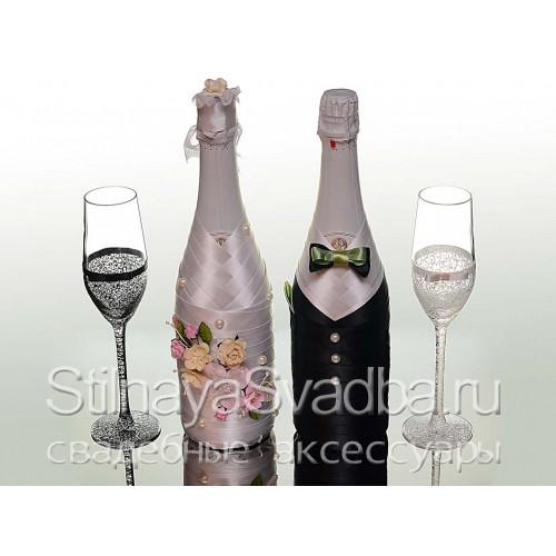 """Декор шампанского """"Нежность весны"""". Фото 000."""