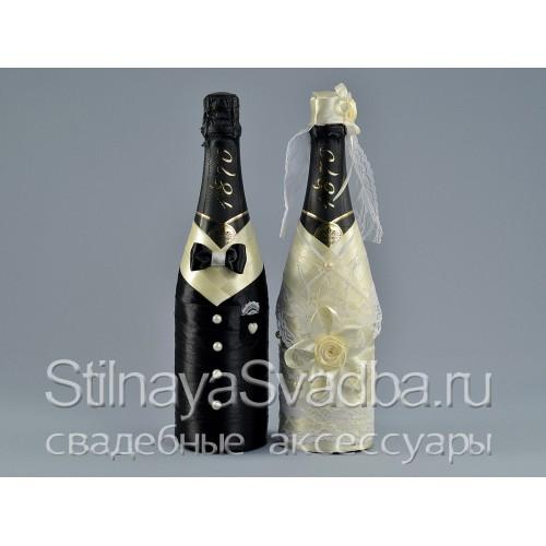 Фото. Свадебный декор шампанского