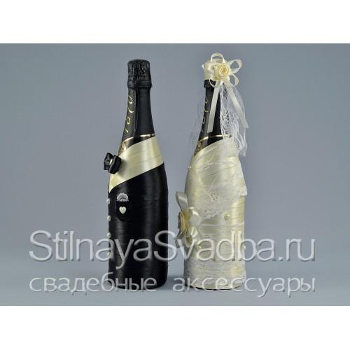 Свадебный декор шампанского. Фото 000.