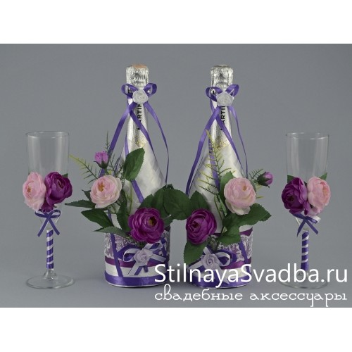 Декор шампанского Лиловая роза фото