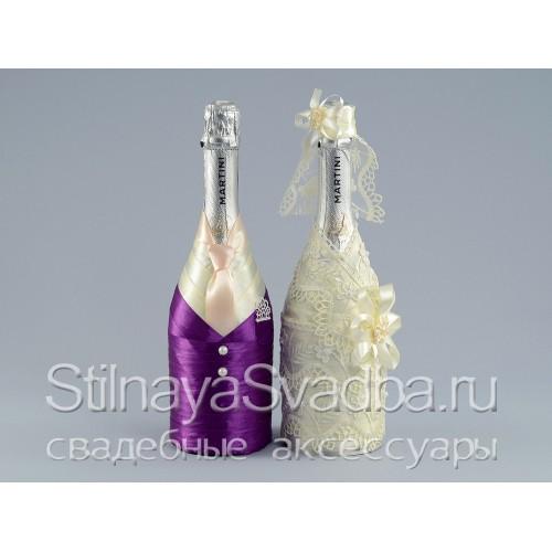 Фото. Декор шампанского на свадьбу Royal purple