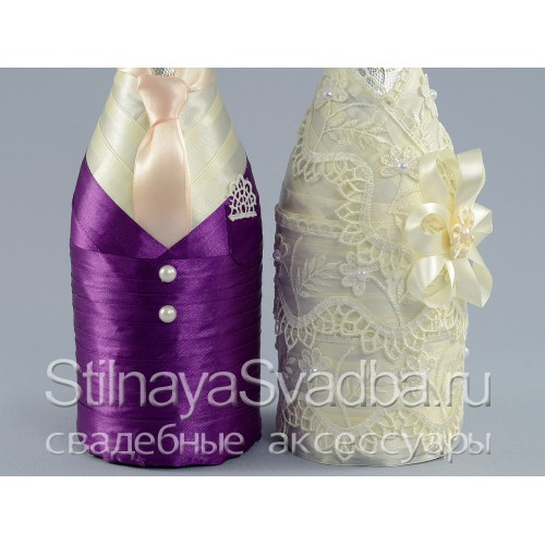 Декор шампанского на свадьбу Royal purple. Фото 000.