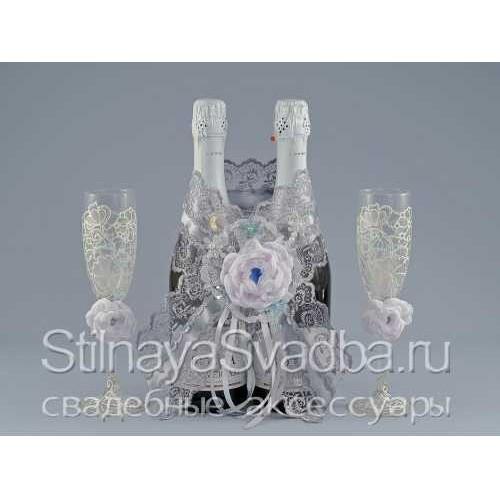 Украшение зимнее для шампанского Серебро фото