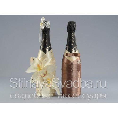 Украшение бутылок шампанского на свадьбу фото