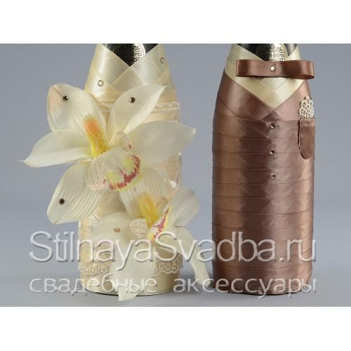 Декор шампанского с орхидеями, Мокко. Фото 000.