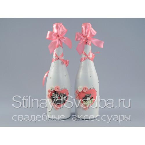 Оригинальное свадебное шампанское c фигурками енотов фото