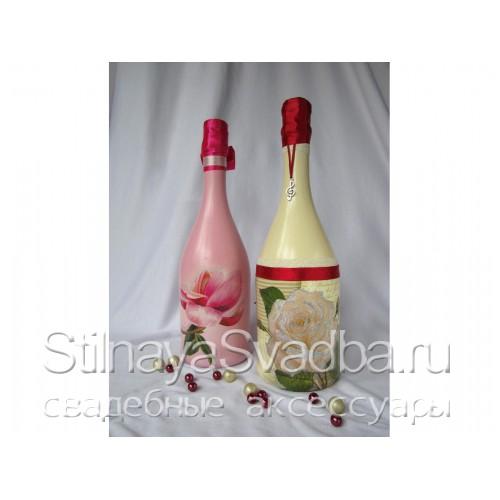 Декупаж бутылки шампанского на свадьбу фото