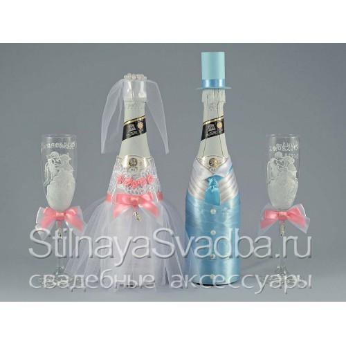 Свадебный декор шампанского в стиле Золушка фото