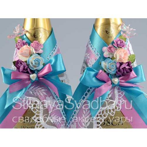 Съемное украшение на бутылку шампанского фото