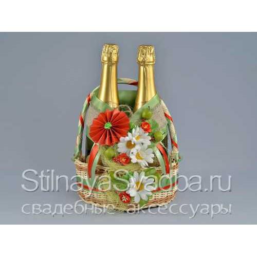 Яблочно-ромашковое украшение для шампанского фото