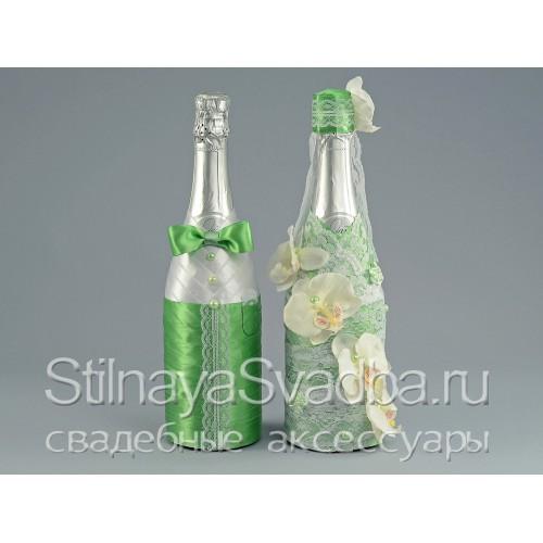 Свадебное шампанское Лайм с орхидеями фото