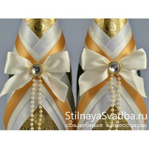 Украшения на бутылки шампанского на свадьбу фото фото