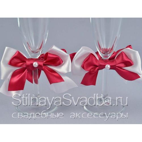 Съемные украшения для бокалов малиновые фото
