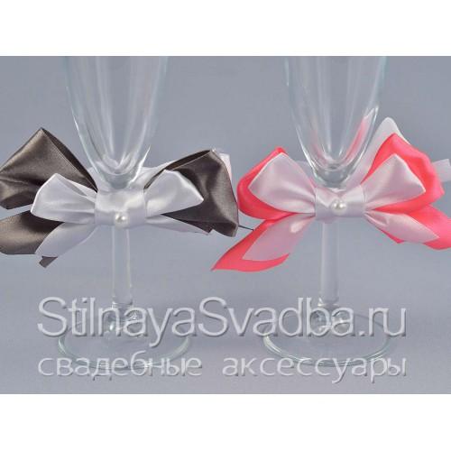 Съемные украшения для бокалов серый и розовый фото