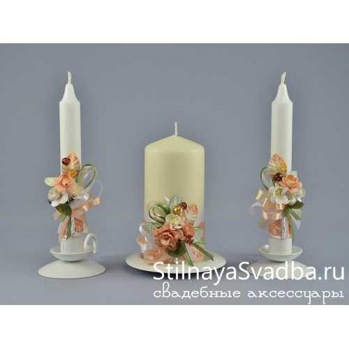 Фото. Свадебные свечи Персик